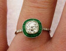 Art Deco Old Cushion Cut 1.37 Carat Diamond Emerald Platinum Ring
