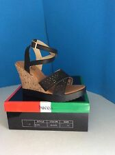 Bucco Blipa Black Cork Wedge Sandals Size 7.5M *NEW
