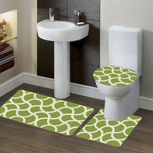 3-Piece Solid Bathroom Bath Mat Contour Rug Set with Toilet Lid Cover #7 Mixture