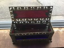 Antique Multi Color Glass And Bronze Ormolu Box C1800's