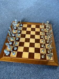 pewter Chess set and varnished board
