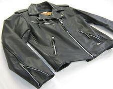 vintage womens harley davidson leather jacket m basic skins shovel head zip bar