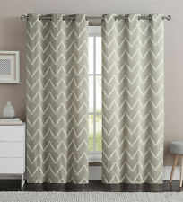 "Taupe Single (1) Cotton Rich Window Curtain Panel: Zig-Zag Design, 40""W x 84""L"