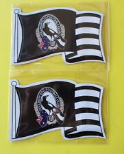 COLLINGWOOD MAGPIES x 2 FLAG FRIDGE MAGNETS APPROX. 13 cm x 8 cm NEW EXCELLENT