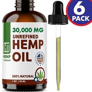 Hemp Oil For Pain Relief 6 Pack Anxiety, Sleep 30000 mg