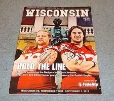 Wisconsin Beau Allen & Ethan Hemer Signed Autographed Program Magazine 2013