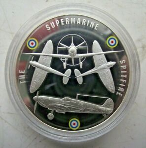 2010 WW2 BATTLE OF BRITAIN PROOF COLOURED PICTURE MEDALLION SUPERMARINE SPITFIRE