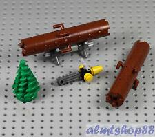 LEGO - 2x Tree Logs w/ Chainsaw Logging Trunk Strump Plants Garden 60181 City