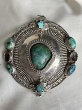 Antique Tibetan Silver & Turquoise Hair Bead Pendant Necklace Late 19th Century