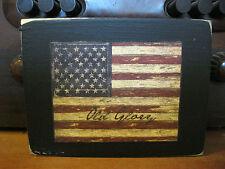 Old Glory American Flag Primitive Rustic Wooden Block Shelf Sitter 3.5X4.5