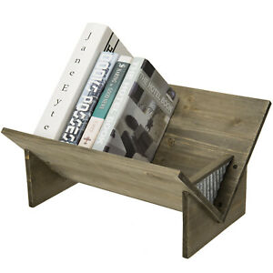 MyGift Rustic Brown Wood and Galvanized Metal Tilted Desktop Bookcase Shelf