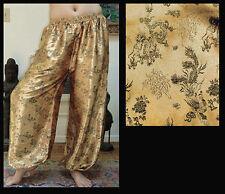 Harem Pants Belly Dance Gold with Black Phoenix Sparkle
