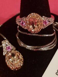 2.58 ctw Marropino Morganite Multi Gemstone Set in 10K Rose Gold & St.Slvr., Sz7