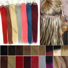 """16""""-26"""" Micro Ring Easy Loops Beads Tip Real Remy Human Hair Extensions Ombre"""