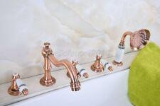 Red Copper Roman Bathtub Mixer Faucet Set w/ Handheld Shower 5 Holes Tap ltf224