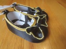 Infant Baby girl BLACK SATIN MARYJANES CRIB SHOES WITH BOW NWT 2 HOLIDAY