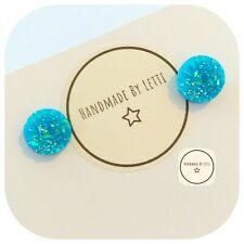 Druzy Blue Glitter STUD Earrings ✨ Handmade ✨ Perfect Gift