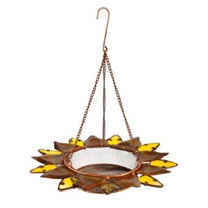 Bird Feeder Sunflower Metal Glass