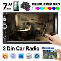 "7"" Double 2DIN Stereo Radio Bluetooth Touch Screen USB AUX IN FM Car MP5 Player"
