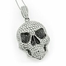 1.52CT White & Black Round Diamond In 925 Silver Skull His Pendant Without Chain