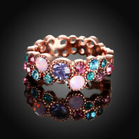 Classic 18K Rose Gold Filled MultiColour CZ Crystal Wedding Ring