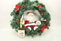 "Vintage Santa Wreath Animated Singing Santa Wreath Motion Activated 16"""
