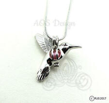 Pick A Pearl Cage Silver Plated Hummingbird Bird Flying Locket Charm Necklace