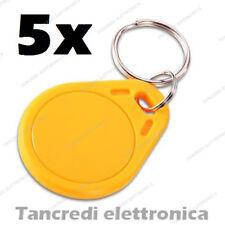 5x Tag token rfID 13.56 MHz lettore RC522 compatibile NFC Arduino PIC arancione