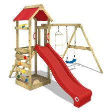 WICKEY Stelzenhaus Spielturm FreeFlyer mit Schaukel, roter Rutsche & Plane
