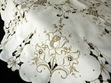 Roses Elaborate Handwork Antique Madeira Embroidered Round Tablecloth 50""