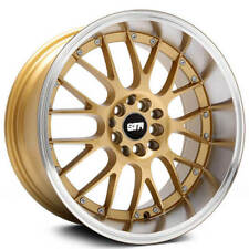 18x8.5 STR Wheels 514 Gold Face with Machined Lip Rims JDM Style (B8)