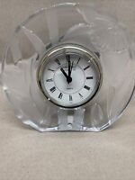 """Vintage Fifth Avenue Crystal Quartz Clock Clear Glass Frosted Floral Mantel 5.5"""""""
