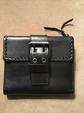 YSL Yves Saint Laurent Rive Gauche black Leather Buckle Wallet Excellent Vintage