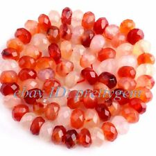 4x7mm Faceted Rondelle Carnelian Loose Jewelry GEMSTONE Beads Strand 15""