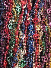 """1 Dozen (12) """"Multi-Colored Peace Signs"""" Mardi Gras Necklaces Beads Retro (B145)"""