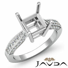 Solitaire Style Diamond Engagement Ring 18k White Gold Princess Semi Mount 0.4Ct
