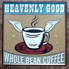 Metal Tin Sign whole bean coffee Bar Pub Vintage Retro Poster Cafe ART