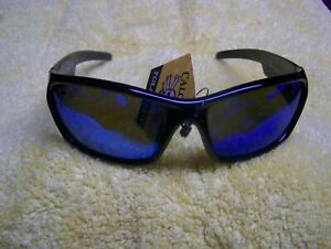 CALCUTTA ISLANDER BLACK FRAME BLUE MIRROR POLARIZED LENS SUNGLASSES NEW