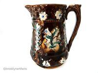 Antique English Measham Pottery Floral Brown Glaze Bargeware Pitcher