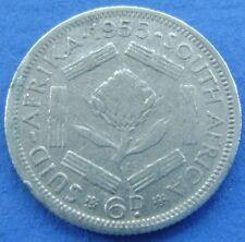 Zuid Afrika - South Africa 6 pence 1955 Elizabeth II Silver KM# 48