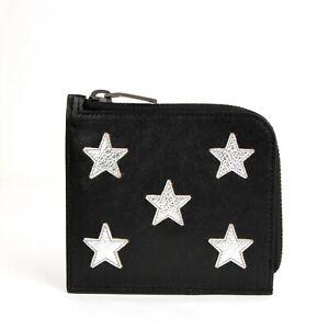 Saint Laurent Men's Black Leather Zip Around Wallet w/Silver Stars 417797 1054