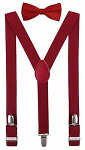 Men's Boys' Bow tie and Suspenders Set 30 Inches(3 - 9 yrs) Burgundy
