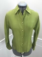 Authentic PRADA Silk Blouse Top Button Front Shirt Green size IT 38 or XS  WOW