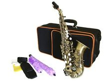 Curved SOPRANO SAXOPHONE Sax ANTIQUE BRASS Finish + Case & Accessories