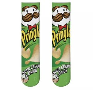 Cool Socks, Unisex, Food, Pringles Green, Crew, Novelty Silly Crazy Wacky Funny