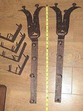 """Antique Blacksmith Forged Iron Hinges Old Nautical Hardware 25"""" Long"""