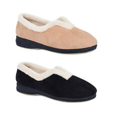 Ladies Slippers Grosby Bloom Slip on Comfy Warm V-cut Micro Suede Size 6-11 New