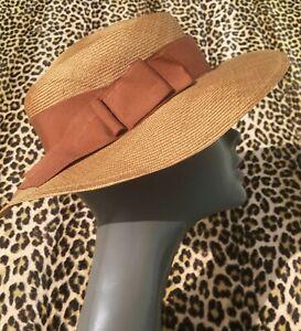 Ladies Hat Vintage Hat 1980 IVory Wide pleated Brim hat with blue ivory NEtting BLue flower