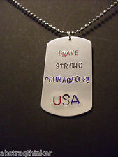 "Hand Stamped ""Brave Strong Courageous USA"" Aluminum Dog Tag Ball Chain Necklace"