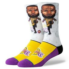 Postura para hombre NBA Los Angeles Lakers Lebron James Cabeza Grande Violeta Amarillo Calcetines